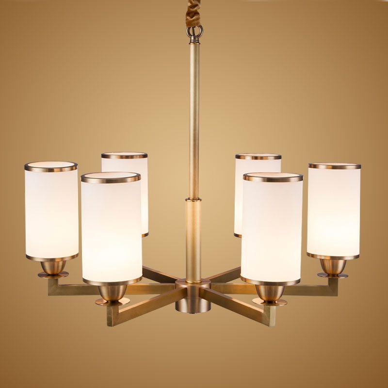Modern Real Bronze Copper Chandelier for Bedroom Kitchen Living Room Glass Lampshade Ceiling Home Lighting BLC015