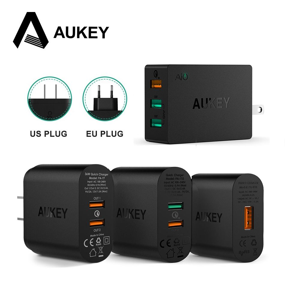 AUKEY Quick Charge 2.0 Fast Mobile Phone Charger Adapter USB Desktop Wall Charger Smart Quick Charger for iPhone Samsung Xiaomi