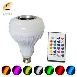 E27 RGB RGBW Inteligente Sem Fio Bluetooth Speaker Lâmpada Música Tocando Regulável Lâmpada LED Lâmpada Luz com 24 Teclas de Controle Remoto