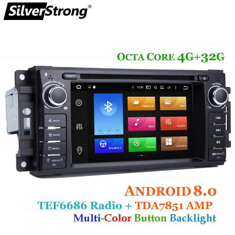 SilverStrong 8 Core 4 + 32g Android8.0 Auto DVD für Jeep Cherokee 2009 2008 2010 Wrangler auto stereo für dodge radio für Chrysler