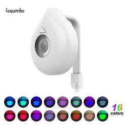 Coquimbo 16 colores sensor de movimiento luz batería operado retroiluminación para inodoro AJUSTE PARA CUALQUIER Baño Luz de la noche
