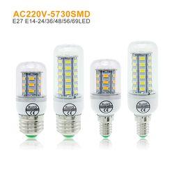 LED Mais Birne E27 E14 Kerze Licht Bombillas 220 v SMD 5730 Hause Dekoration Lampe für Kronleuchter Scheinwerfer 12 24 36 48 56 69 LEDs