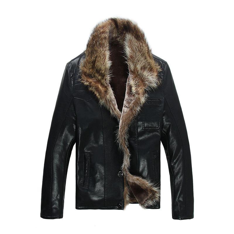 FreeShiping Hot Sale Fashion Men's Coats Imitation Leather Jacket Short Raccoon Fur Collar Leather Jackets Men High Quality
