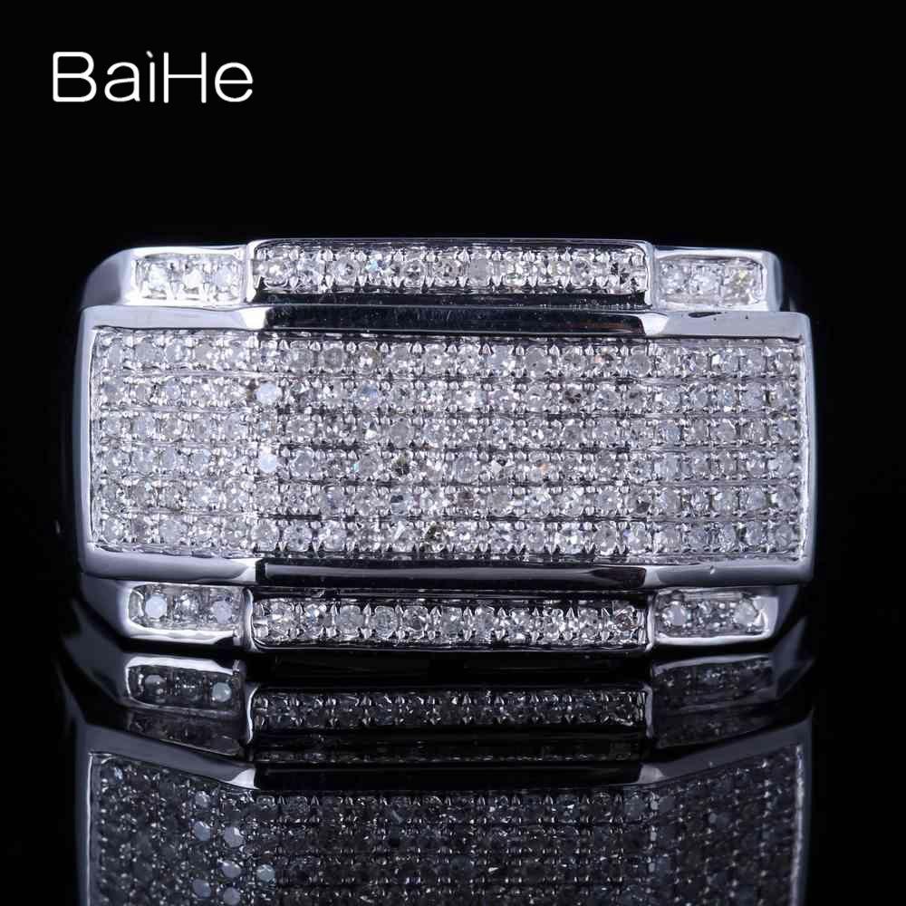 BAIHE Sterling Silber 925 Certified Runde 100% Echte Natürliche Diamanten Engagement Frauen Edlen Schmuck Elegante einzigartige Geschenk Ring