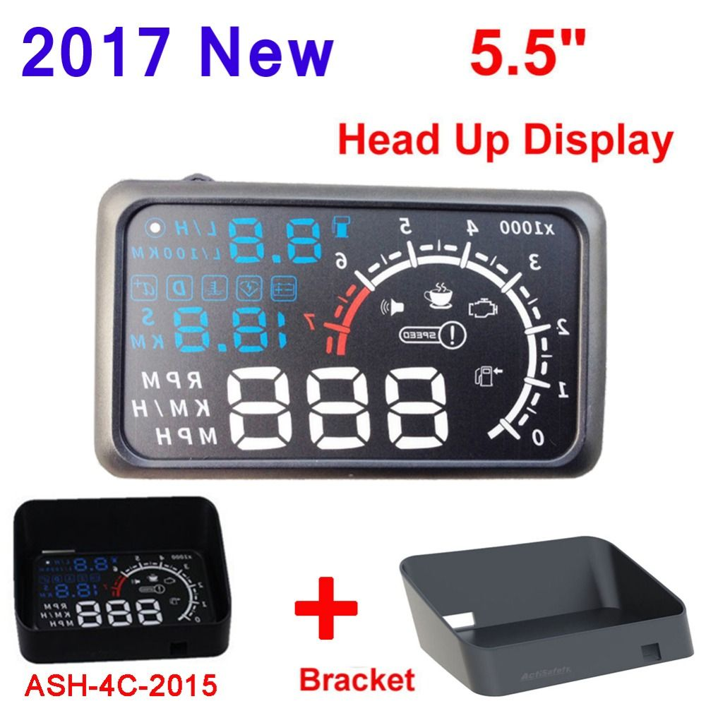 5.5inch Screen Auto Car HUD OBD II Port Head Up Display KM/h MPH Overspeed Warning Windshield Projector Alarm System HUD Bracket