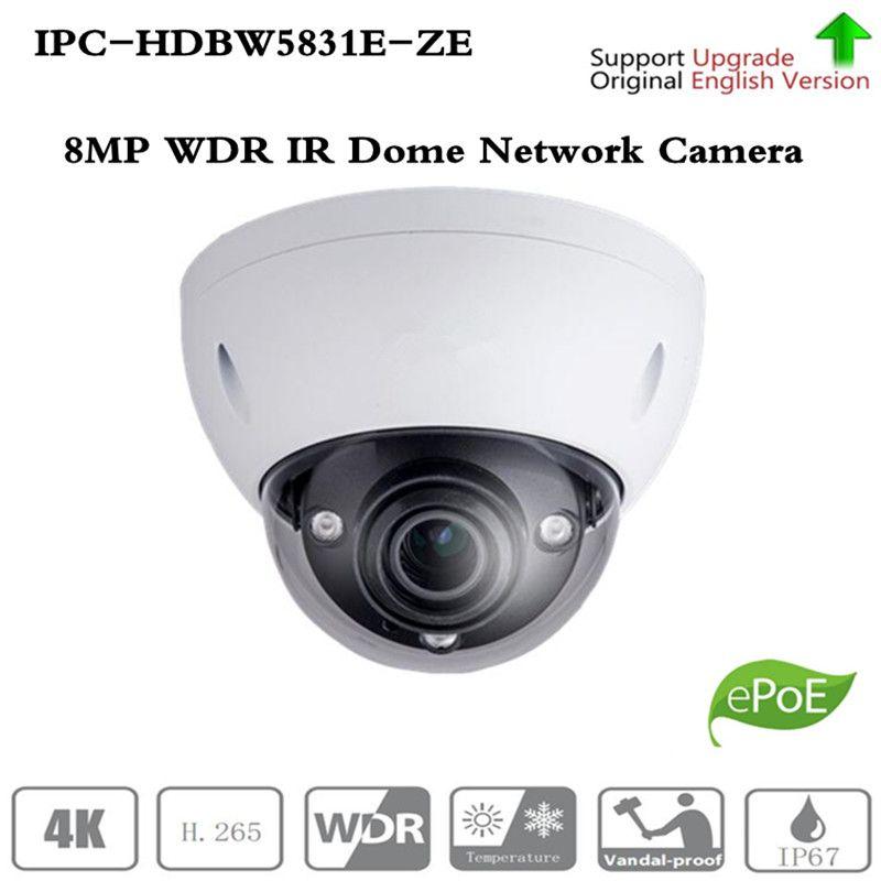 Kostenloser Versand CCTV Sicherheit IP Kamera 8MP WDR IR Dome Netzwerk Kamera mit POE + IP67 IK10 Ohne Logo IPC-HDBW5831E-ZE