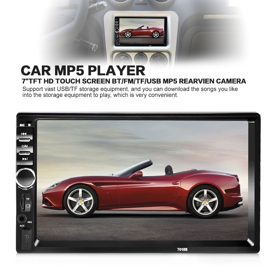 7018B Universal 7 Inch 2 DIN Car Audio Stereo Player Touch Screen Car Video MP5 Player TF SD MMC USB FM Radio Hands-free Call