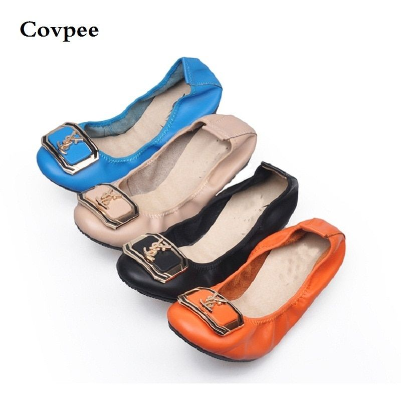 Genuine Leather Spring Autumn summer woman Shoes with a sweet flat tip shoes casual square toe crystal fashion girl shoes metal