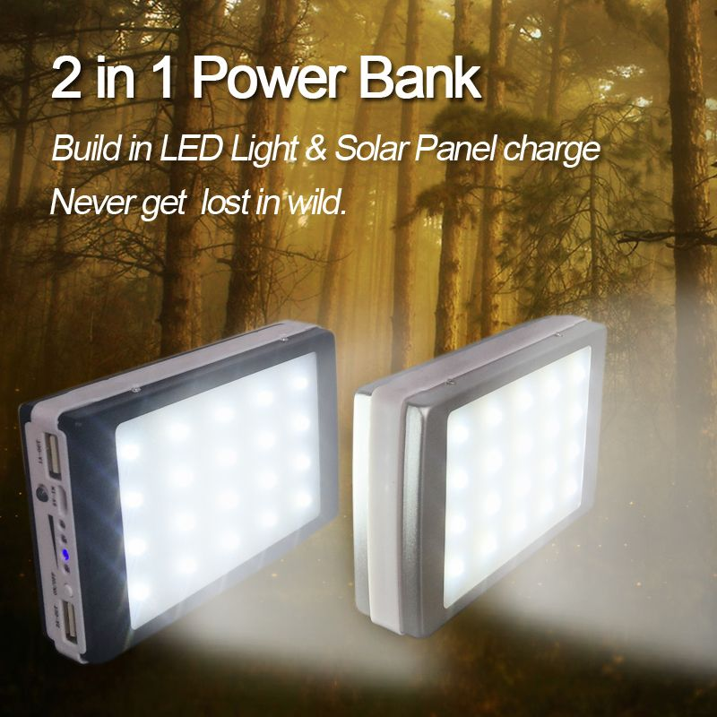 10000mAh Solar Power Bank with 20 LED Camp Lights External Solar Charger Power Bank for All Mobile Phones for Outdoors/Camp/ride