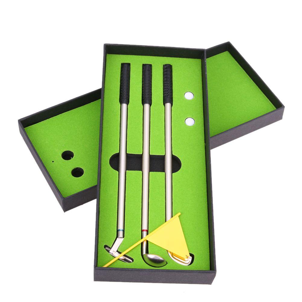 1 Satz Golf Zubehör 3 stücke Golf Clubs Modelle Kugelschreiber 2 bälle Flagge Putter Kit Set Geschenk Golf Trainingshilfen Mit Box