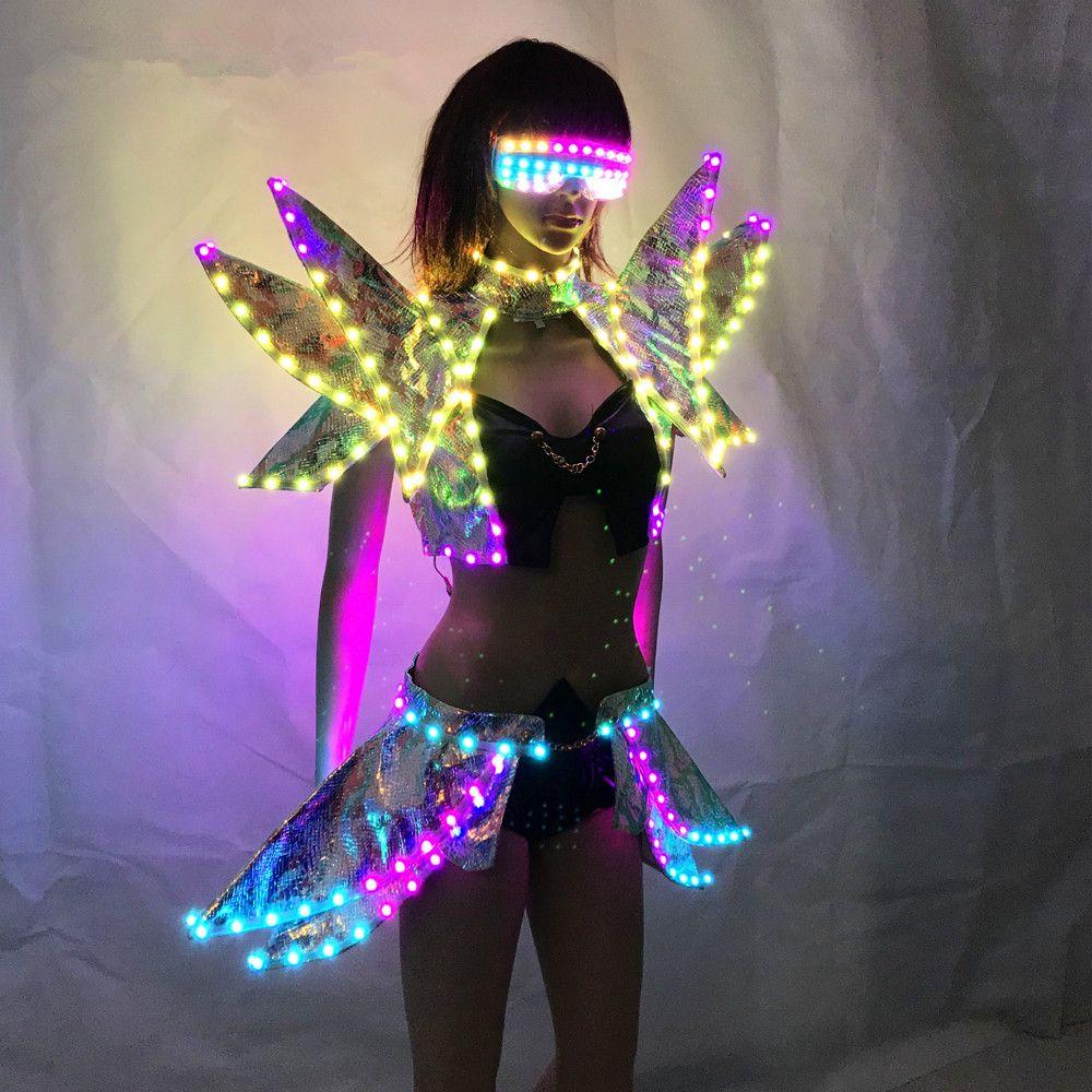 LED Kleidung Dame Kleidung Mode Glowing Frauen Bh Shorts Alice schulter Rüstung Anzüge Ballroom Dance Kleid