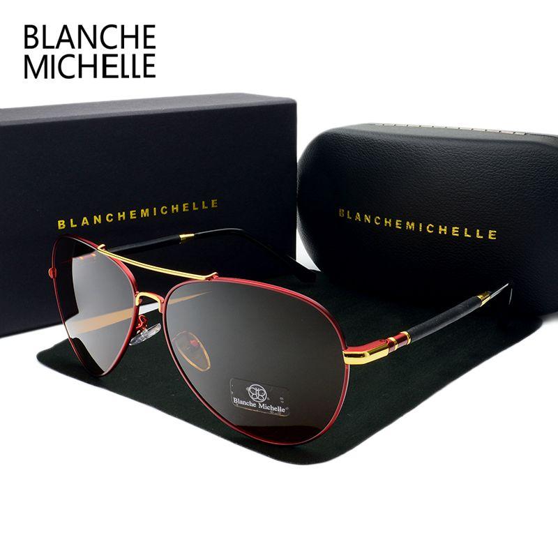 2018 High Quality Pilot Sunglasses Men Polarized UV400 Sunglass Brand Designer <font><b>Driving</b></font> Sun Glasses For Man oculos With Box