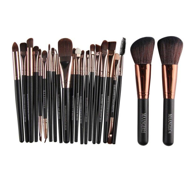 Pro 22 pcs Cosmétique Maquillage Pinceaux Bulsh Poudre Fondation Fard À Paupières Eyeliner maquillage pour les Lèvres Brosse Beauté Outils Maquiagem