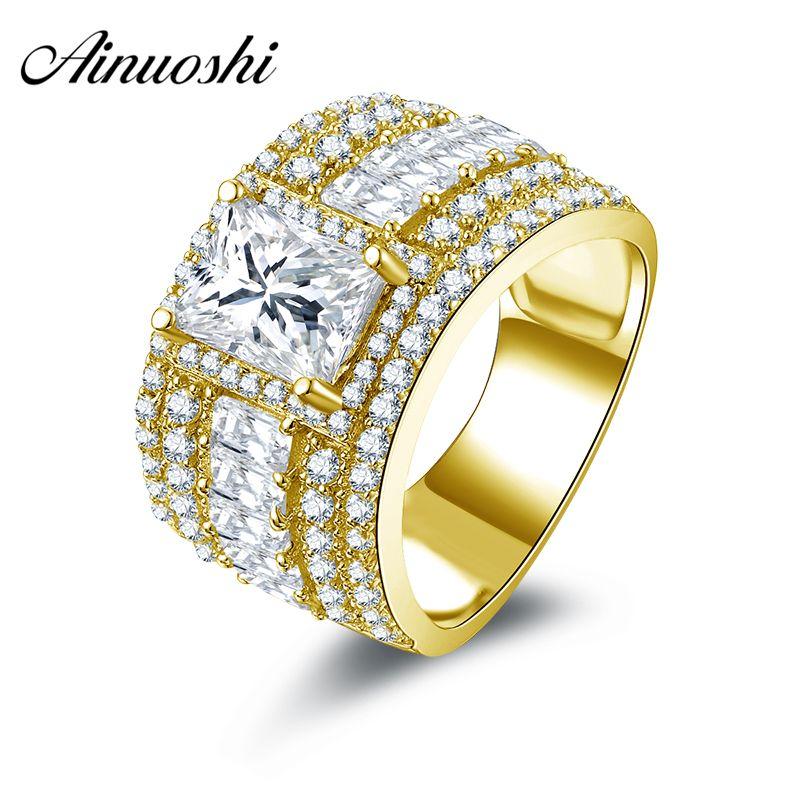AINUOSHI 10 karat Solide Gelb Gold Ring Schmuck Neue 1,5 ct Rechteck Cut Simuliert Diamant Breite Hochzeit Ringe Frauen Brilliant geschenk