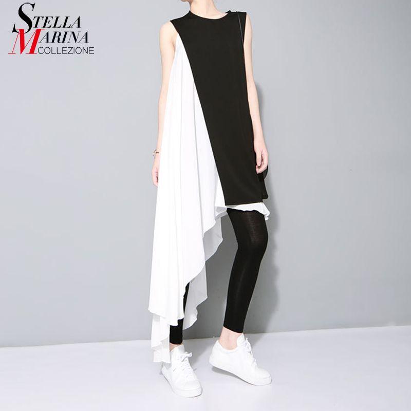 2018 Two Piece Set Summer Women White Asymmetrical Chiffon Dress & Black Vest Sleeveless Sloping Hem Irregular Tank Dress 1297