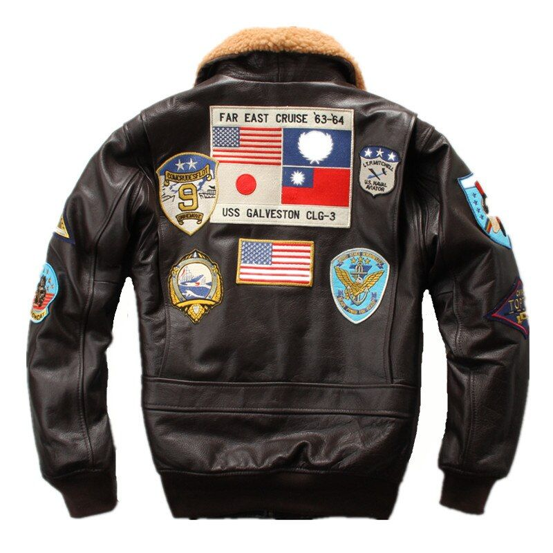 HARLEY DAMSON Brown Men Pilot Leather Jacket Wool Collar Europe Size XXL Genuine Thick Cowhide Russian Aviator Leather Coat