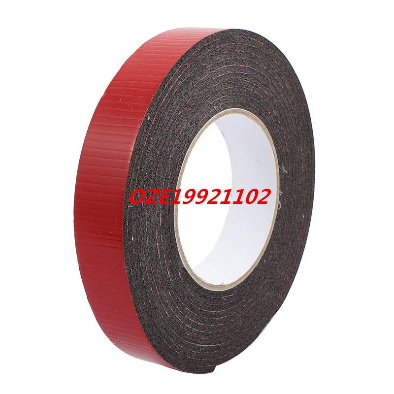 5M 25mm x 3mm Dual-side Adhesive Shockproof Sponge Foam Tape Red Black