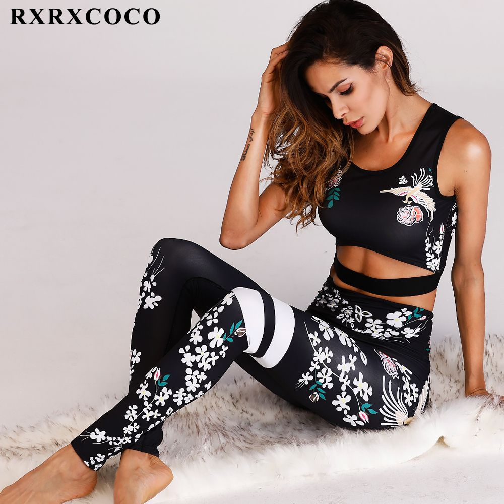 RXRXCOCO 2018 Fitness Clothing Women Sportswear Floral Printed Yoga Set Workout Set Female Sport Suit Sports Bra Leggings Mujer