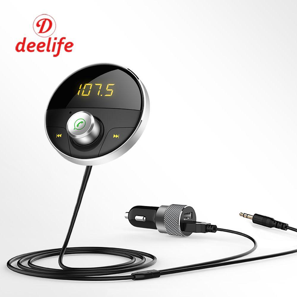 Deelife Bluetooth AUX <font><b>Handsfree</b></font> Car Kit 3.5mm Jack Audio MP3 Player Wireless FM Transmitter Auto SpeakerPhone Carkit USB Adapter