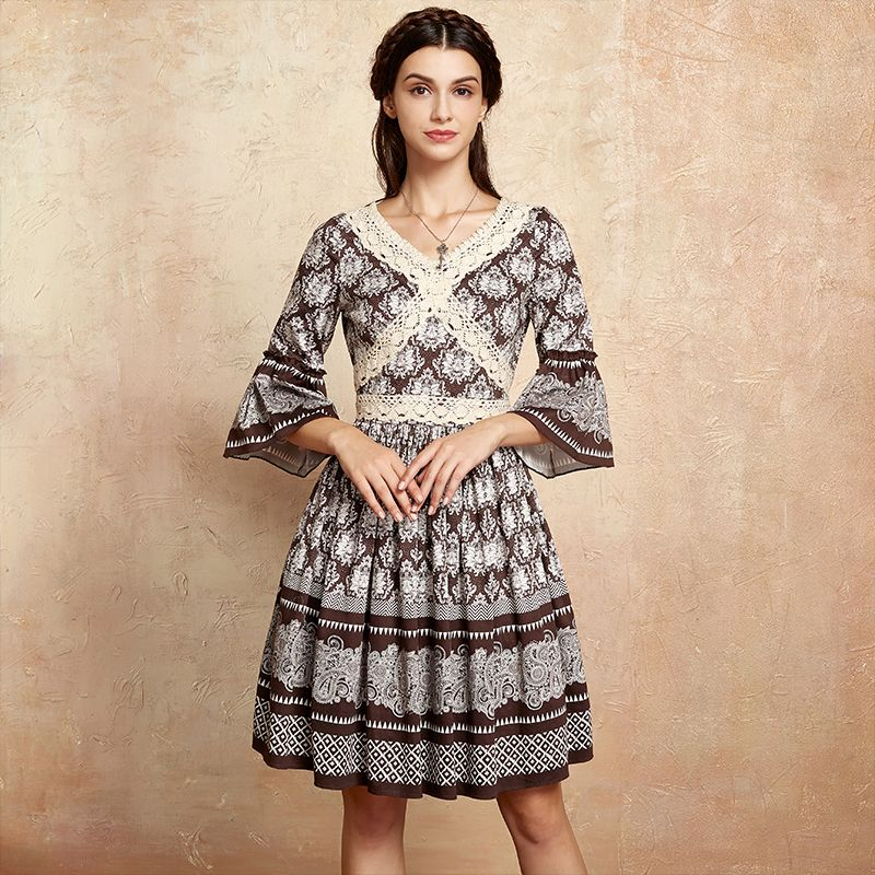 Artka 2018 Summer New collections Vintage Lace Decrations V neck cotton palace style ruffles Sleeves Elegant Dress LA10575Q