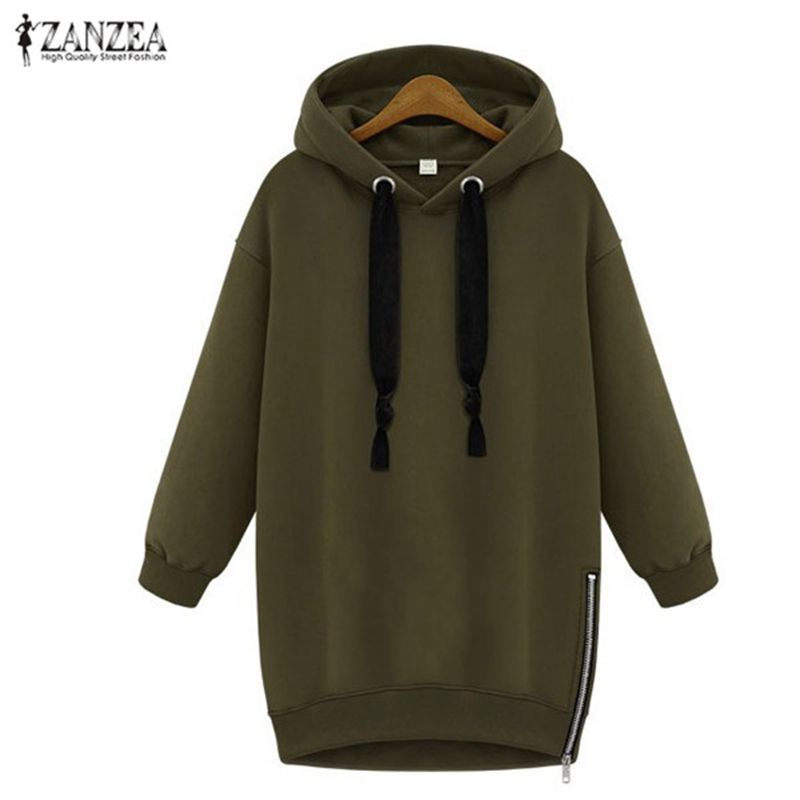 Oversized 2018 Spring Autumn ZANZEA Womens Long Sleeve Hooded Loose Casual Warm Hoodies Sweatshirt 3 <font><b>Colors</b></font> Plus Size S-5XL