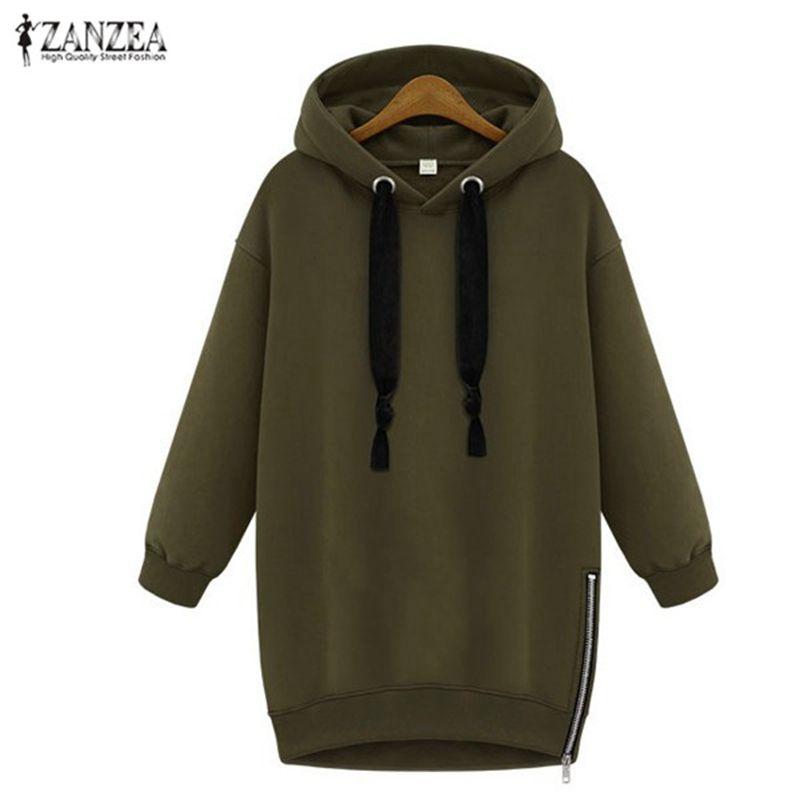 Oversized 2018 Spring <font><b>Autumn</b></font> ZANZEA Womens Long Sleeve Hooded Loose Casual Warm Hoodies Sweatshirt 3 Colors Plus Size S-5XL