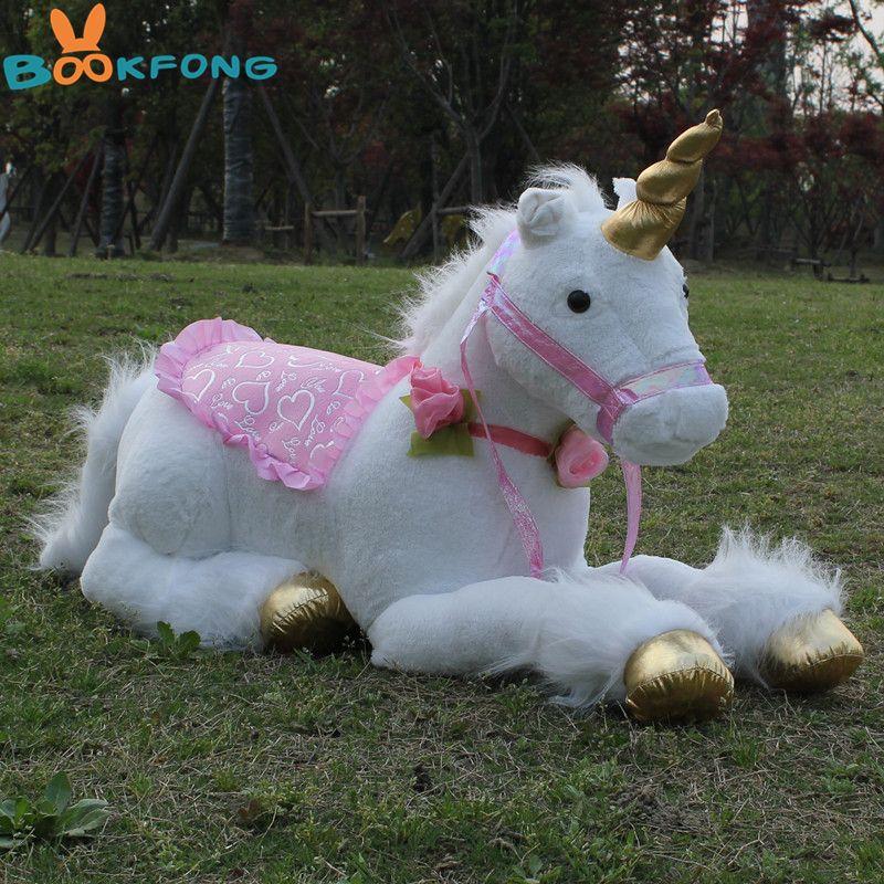 BOOKFONG 85cm Jumbo White Unicorn Plush Toys Giant Stuffed Animal Soft Doll Home Decor Children Photo Props