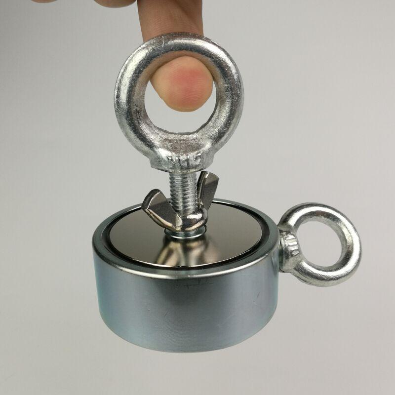 1 stücke zwei seiten 200 KG magnetische zieht oberfläche starke pull-kraft suche erfassen topfmagnet mit einer ringschraube