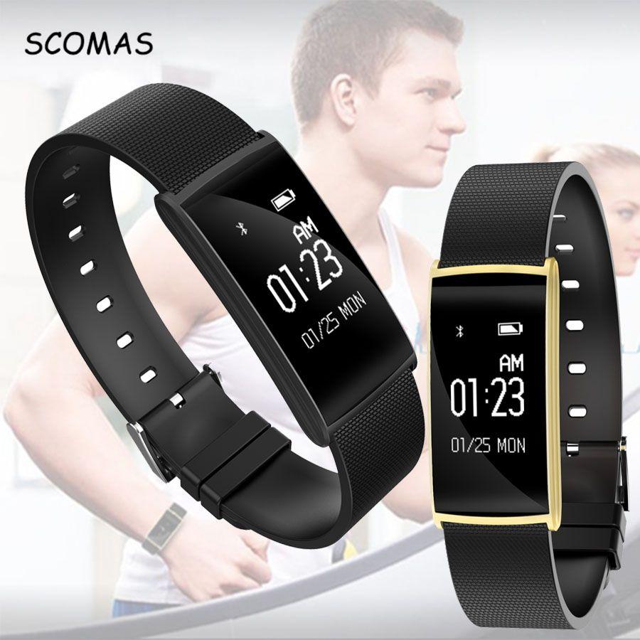 SCOMAS Date moniteur de fréquence cardiaque Smart bracelet 0.96 pouce écran tactile BT4.0 bracelet à puce montre fitness tracker bracelet
