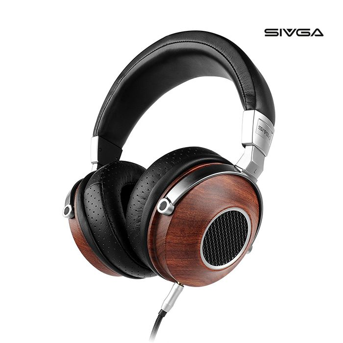 SIVGA SV007 Over Ear Headphones Wired,Wooden Open Back Studio Headset with HiFi Stereo, Rosewood