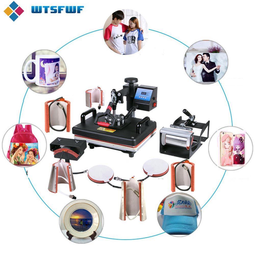 Wtsfwf 30*38 cm 10 in 1 Combo Wärme Drücken Drucker 2D Thermische Transfer Drucker für Kappe Becher Platte t-shirts Druck