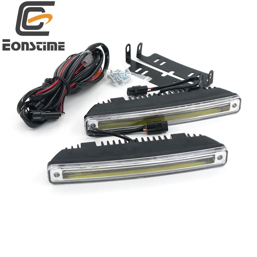 Eonstime 18 CM 2 pcs 8 W COB LED Feux de Jour Jour Lumière Led Voiture Étanche DRL Auto Conduite Lampe Externe Lumière 12 V/24 V E4