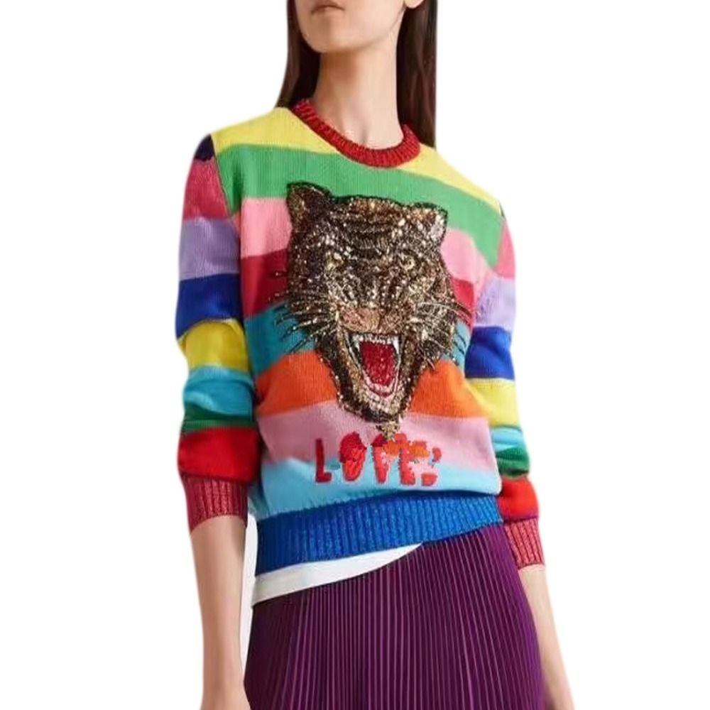 Luxury Sweaters Women Soft Rabbit Fur Pullovers Cartoon Tiger Embroidery Letters Knitted Sweaters Rainbow Striped Sweaters