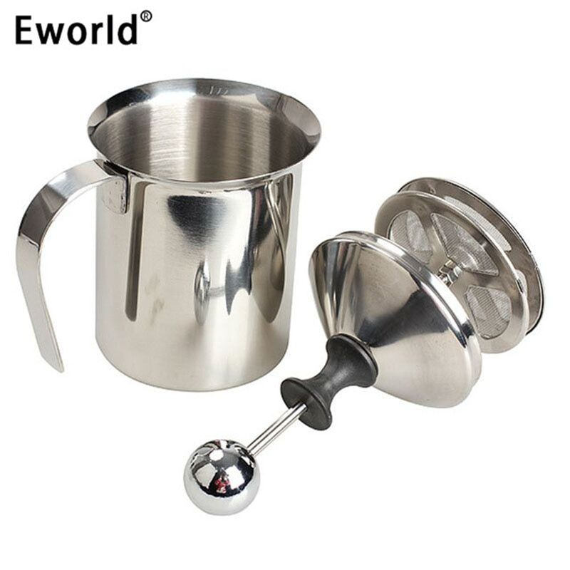 Eworld 800ML ASLT High Quality Stainless Steel Pump Milk Frother Creamer Foam Cappuccino Coffee Double Mesh Froth Screen Silver
