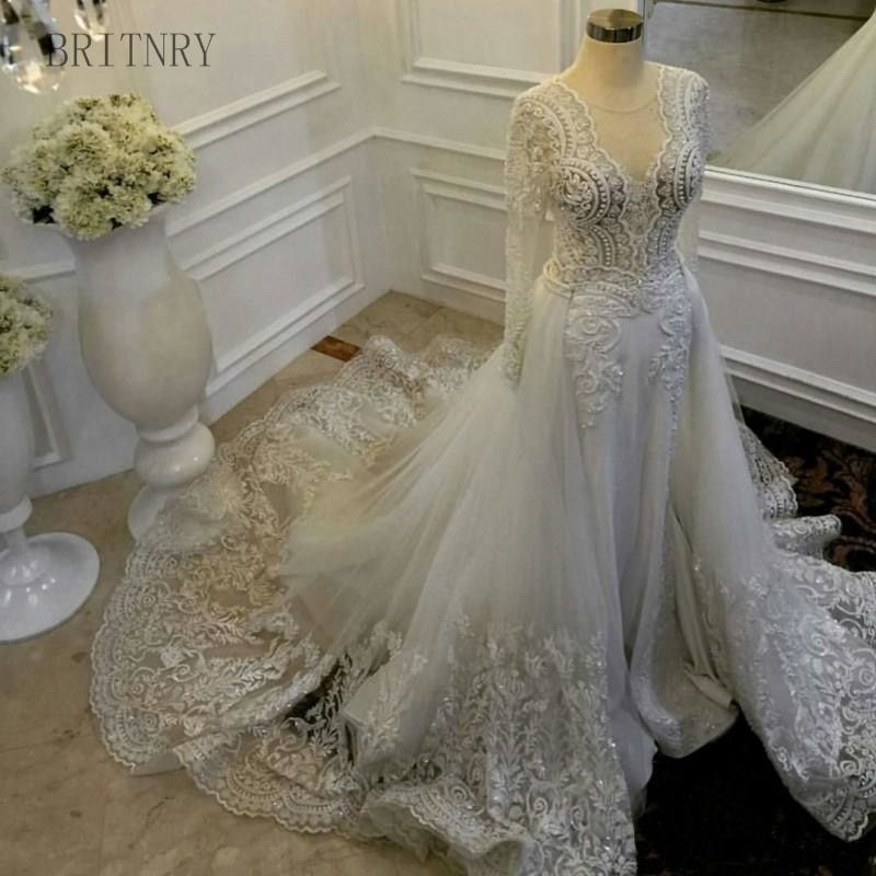 Vintage Wedding Dress 2018 Long Sleeve Embroidery Lace Beaded Luxury Wedding Dress With Detachable Train