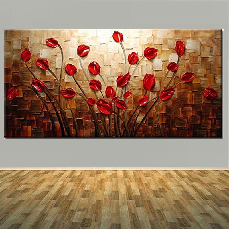 100% peint à la main texturé Impastp Palette couteau rouge fleur toile peinture à l'huile rouge fleur mur Pciture salon décor à la maison