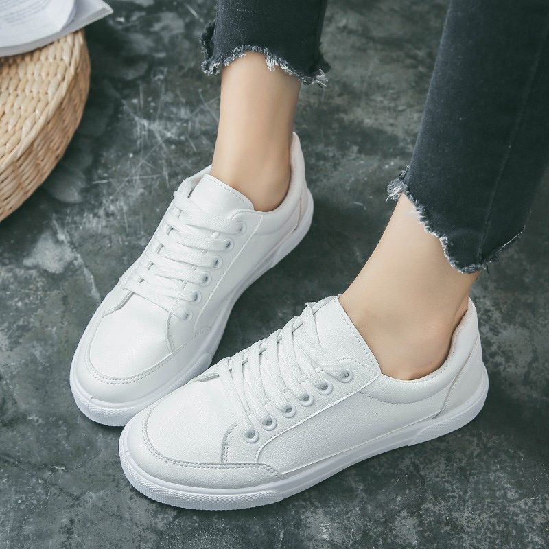 2018 New Lovers! Women Flats Casual shoes leather Tide Fashion comfortable breathable Lace-Up Big size 36-44 Women's shoes