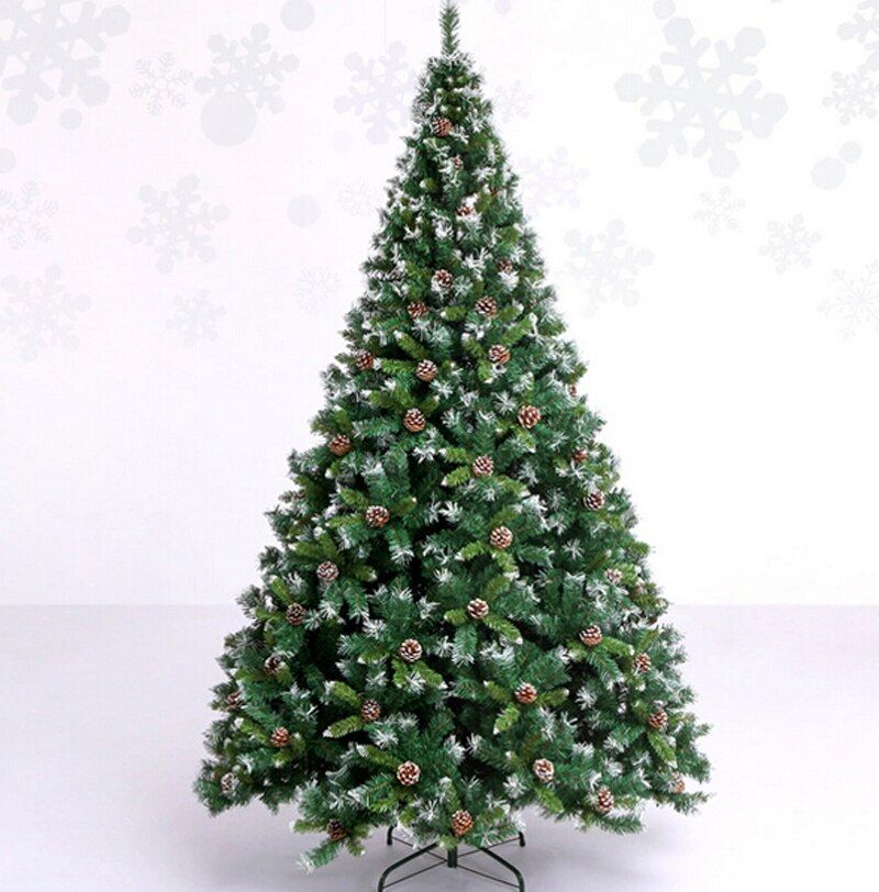 Envío Libre de Navidad Árbol De Navidad 240 cm Calidad de Pino Cifrado Árbol De Navidad Artificial W/Conos De Pino Blanco y Copo de Nieve