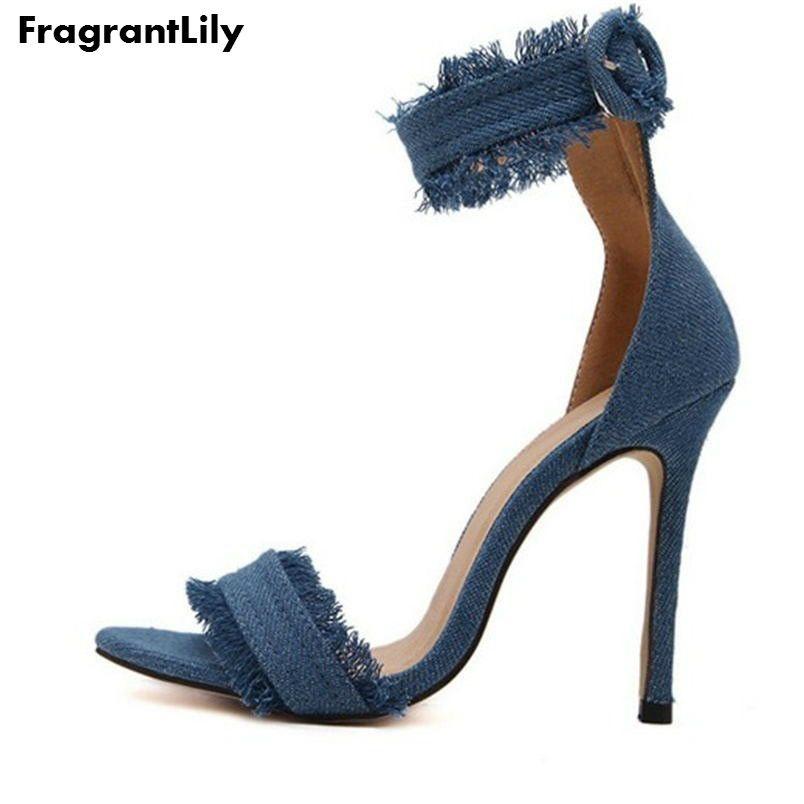 Femmes Pompes 2016 Mode Talons hauts Chaussures De Mariage Femmes Chaussures Chaussure Femme Denim À Talons Hauts Sandales Zapatos Mujer Tacones