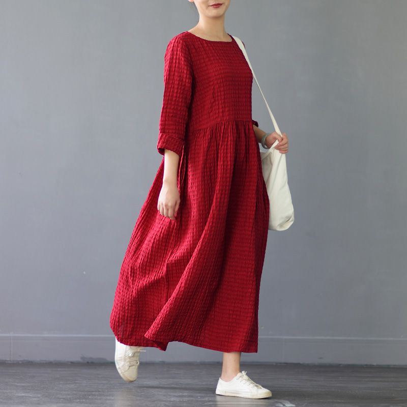 2017 neue Frühling Herbst Frauen Kleid Vintage 0-ausschnitt langhülse Konvexen Reich Beiläufige Leinenkleid Solide A-linie Lang Vestidos S266