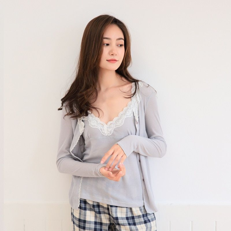 3PC Knitted Cotton Pajamas Women Sleepwear Loungewear Set Homewear Lace Collar Knitted Cotton Camisole Coat and Plaid Pants