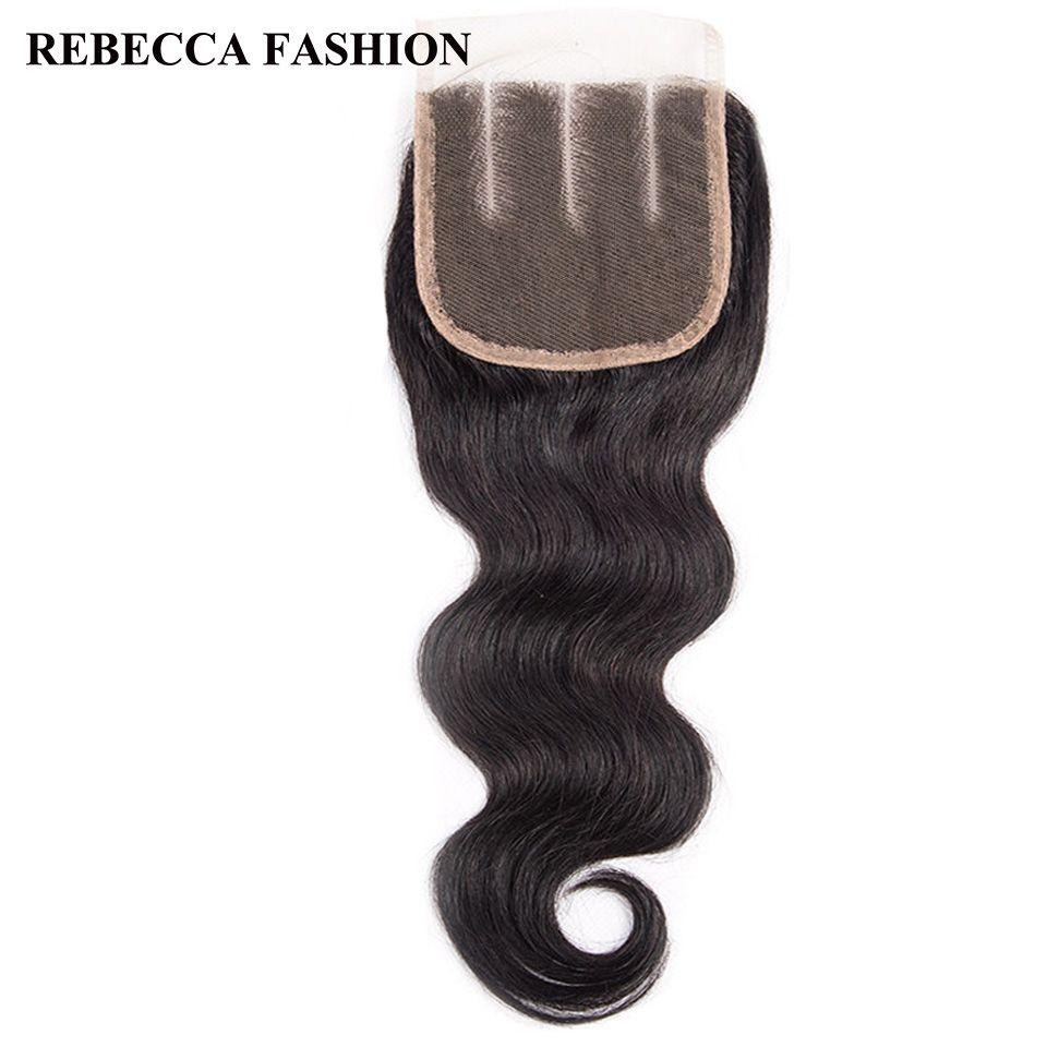 Rebecca Brazilian Body Wave Hair Clousure Remy Human Hair Lace Closure Three Part 4x4 For Hair Salon Natural Black hair products