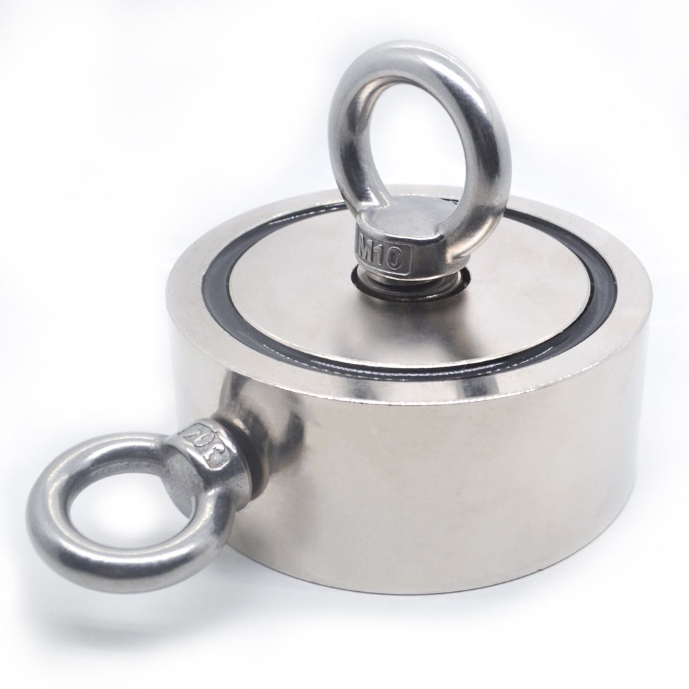 Strong Powerful Neodymium Magnet Round Hook Salvage Magnet Sea Fishing Holder Pulling Mounting Pot with Ring 48mm 60mm 67mm 75mm