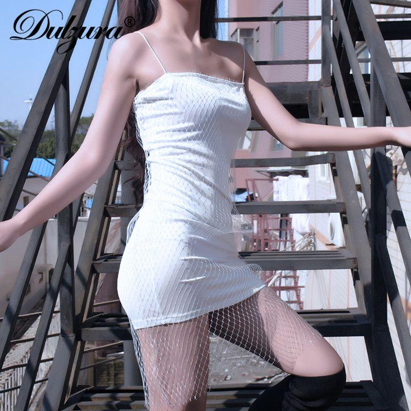 Dulzura women dresses nets mesh strap 2018 winter diamond party dress solid bling glitter sexy clothes Christmas club female new