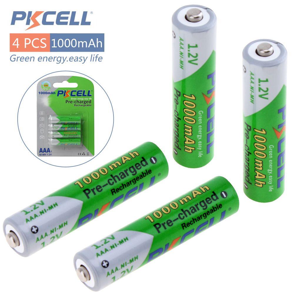 Pkcell NI-MH 4 pièces 1.2 v AAA 1000 mah batteries rechargeables jusqu'à 1000 heures de cercle pour caméra de jouets télécommandés