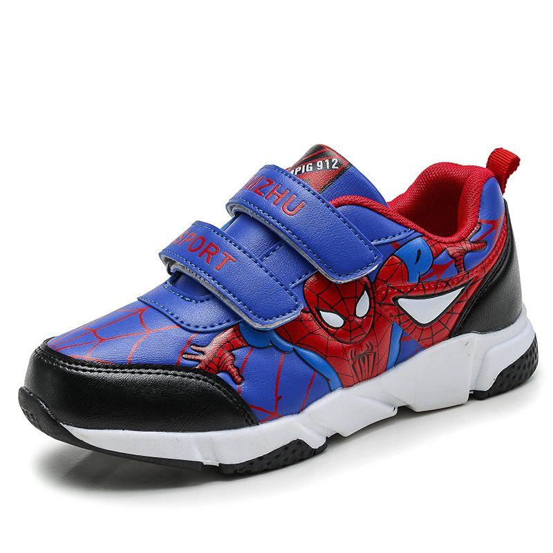 Printemps Automne Enfant Enfants Spiderman Chaussures Garçons Pu Cuir Confortables Chaussures de Sport Enfants Sneakers Chaussures Élève de l'école pour Garçons