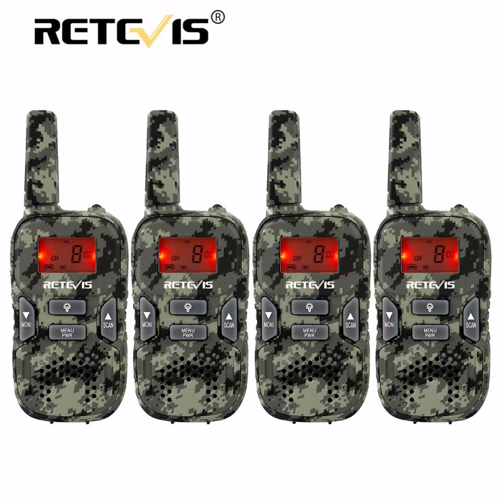 4 pcs Camouflage Mini Walkie Talkie Kids Radio Retevis RT33 8CH 0.5W PMR446 VOX LCD Display USB Charging Two-way Amateur Radio