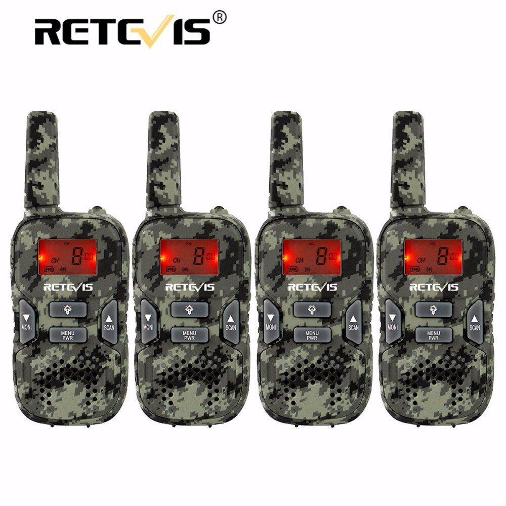 4 pcs Camouflage Mini Walkie Talkie Kids Radio Retevis RT33 8CH 0.5W PMR446 VOX LCD Display USB Charging Two-way Amateur Radio