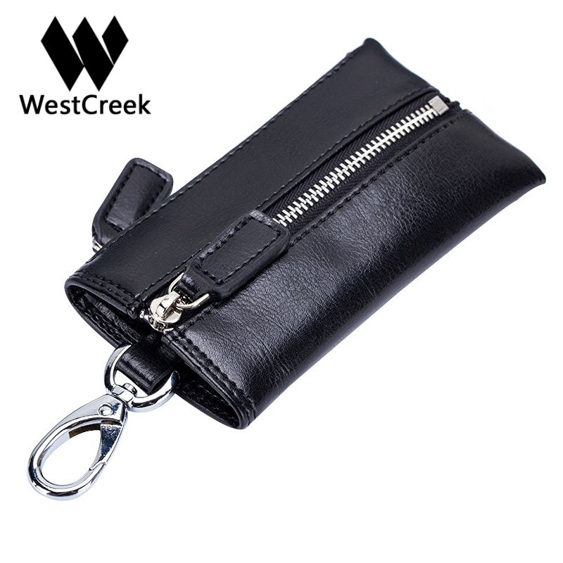 Westcreek Brand Men Genuine Leather Zipper Retro Key Wallets Casual Car Key Housekeeper Key Holder Fashion Women Coin Purse