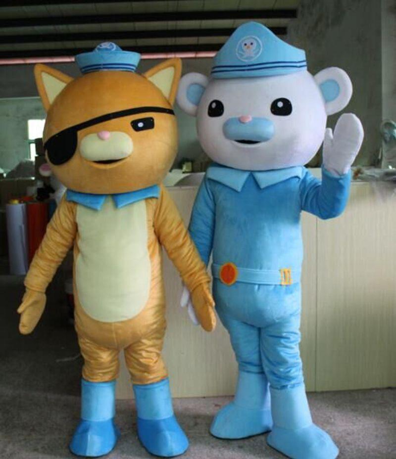 Hot Sale lively Octonauts Movie Captain Barnacles & kwazii Polar Bear Police Mascot Costumes Adult Size Free Shipping